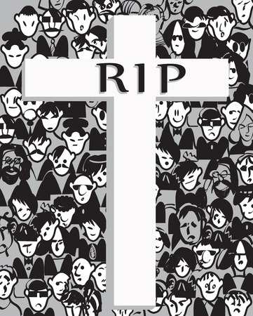 RIP written on a cross over a crowd, hand drawn illustration Vector