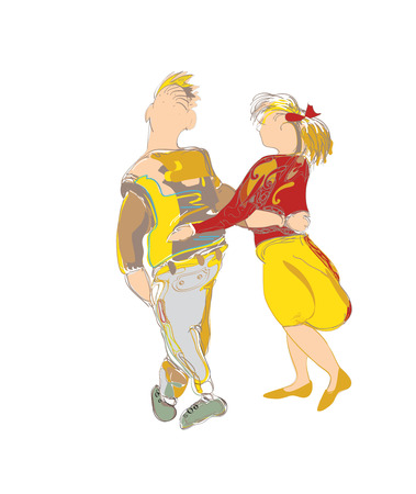 walking away: Hand drawn illustration of a  modern couple in love walking together, on white Illustration