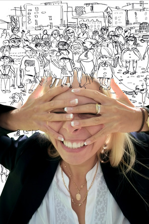 hectic life: Woman covered her face by hands, hand drawn crowd over her head, concept of living in stress Stock Photo