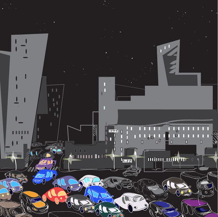hectic: Traffic in the modern city, night scene. Hand drawn illustration