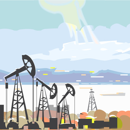 Illustration of the oil rigs pumping oil with the sea and hills in the background Vector