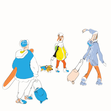 ski wear: hand drawn sketch in a doodle style of a family with luggage going for winter vacation on white. Illustration