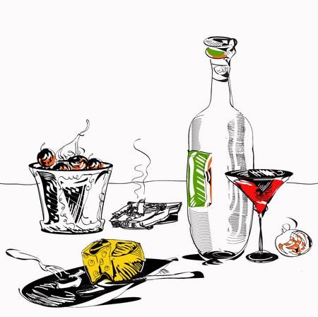manner: Hand drawn in simple manner illustration of the drinks, fruits and cheese plate on a table Stock Photo