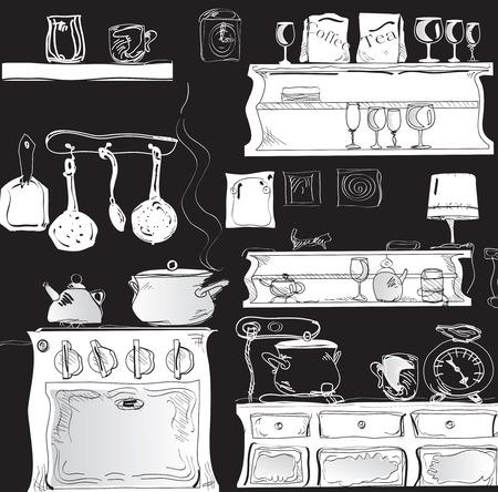 Illustration of modern kitchen in black and white