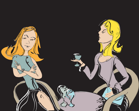 women talking: Two nicely dressed women talking and drinking, hand drawn illustration Illustration