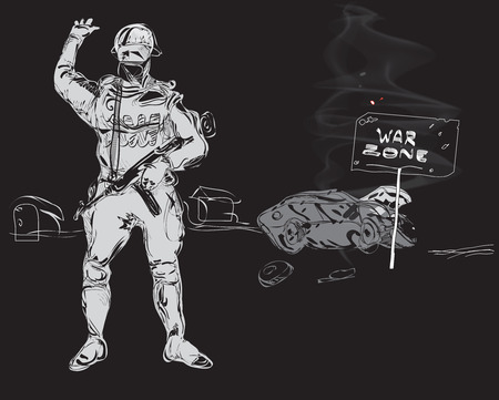 road closed: Soldier with a gun machine and tipped over burning car, precaution War Zone, hand drawn on black. Concept of modern conflicts Illustration