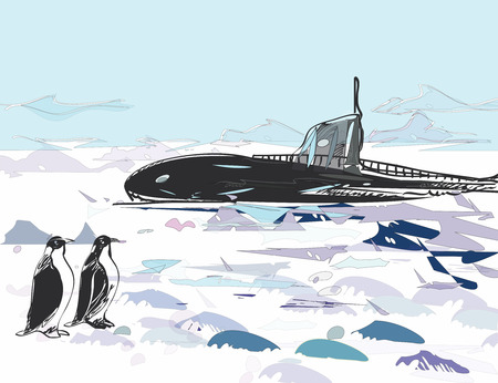 unidentified: Unidentified Submarine Ascent with surprised  penguins in the foreground, illustration in doodle style Illustration