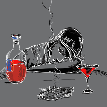lay down: Illustration of a drunk man sleeping at the table Illustration