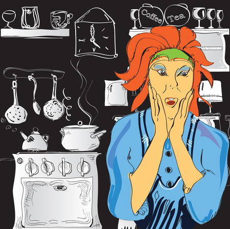 rushing: Emotional portrait of a woman cooking in stress, hand drawn illustration