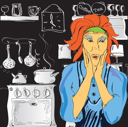 mujer estres: Ilustraci�n Retrato emocional de una mujer que cocina en el estr�s, a mano Vectores