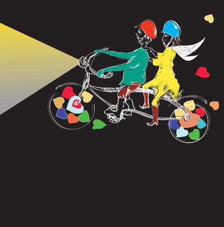 two story: Hand drawn couple riding funny bicycle with beam of light ahead, illustration on black
