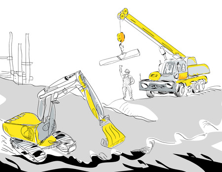 ditch: Hand drawn illustration of a hydraulic excavator and mobile crane working, construction concept Illustration