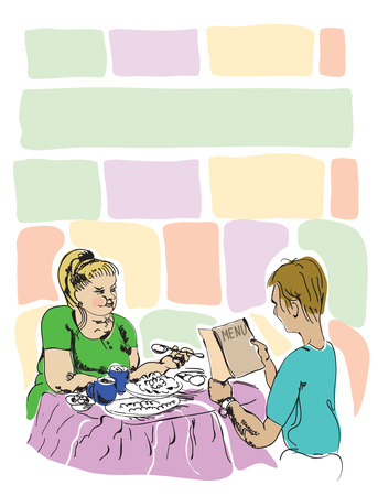 pareja comiendo: Pareja en el restaurante, mujer gorda comer mucho mientras que un hombre delgado de leer un libro de menús, dibujado a mano ilustración