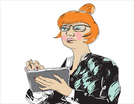 vrouw met tablet: Illustratie van een ernstige vrouw met haar tablet, op wit