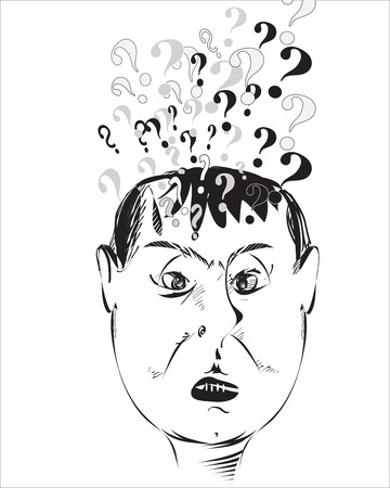 inquiring: Illustration of the busy head with question marks isolated on white Illustration