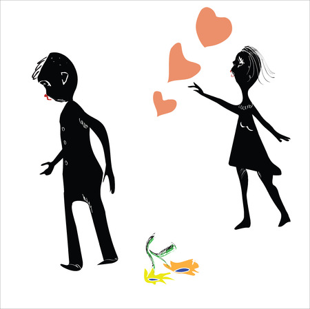 Illustration of a man walking away from his girlfriend, parting scene, flowers on the floor, isolated on white Vector