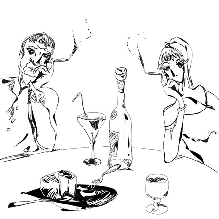 Couple smoking and having wine, black and white illustration in simple manner Vector
