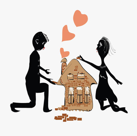 Illustration of a couple building a house, concept of the future for the families