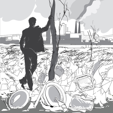 poisoned: Illustration of a man standing near a dead tree in front of industrial landscape, environmental concept