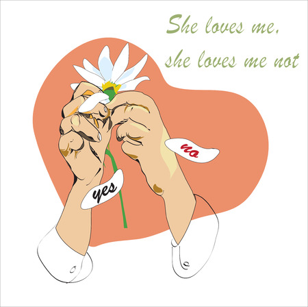 Illustration of the hands with daisy, she loves me not game concept Illustration