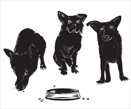 character traits: Silhouettes of tthree funny dogs near an empty bowl, illustration over white