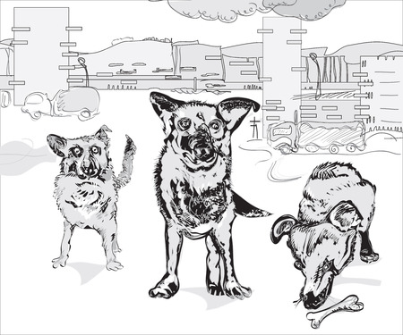 character traits: Pack of funny dogs against the urban background, illustration over white Illustration