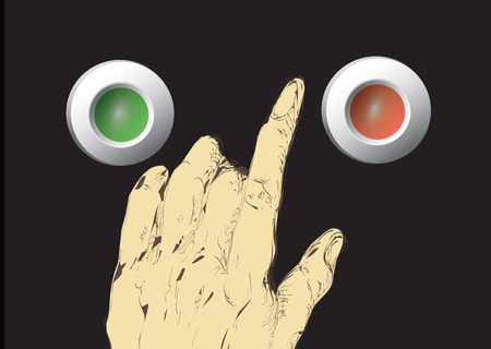 hesitation: Illustration of a male hand about to press red or green button, concept of responsibility