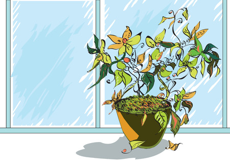 Illustration of a flowers in a pot on a windowsill, pouring rain in the background