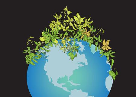 plants growing: Piante che crescono sulla Terra, concetto di ambiente, Figura disegnata a mano