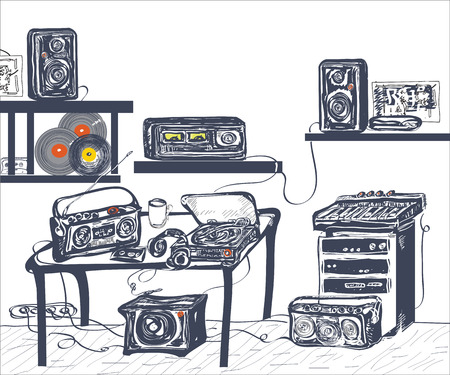 recording studio: Hand getrokken muzikale apparatuur in de opnamestudio, hand getrokken illustratie