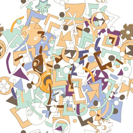 strange: Seamless pattern of strange irregular shapes in assorted colors, on white Illustration