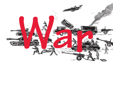 howitzer: Soldiers, tanks, military jet around the word War, concept of modern army, hand drawn illustration