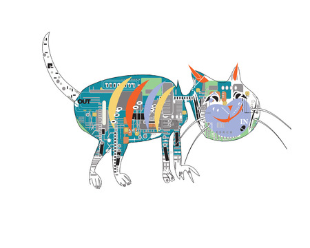 плоть: Ручной обращается веселый кот с компьютером электронные вместо плоти, на белом Иллюстрация