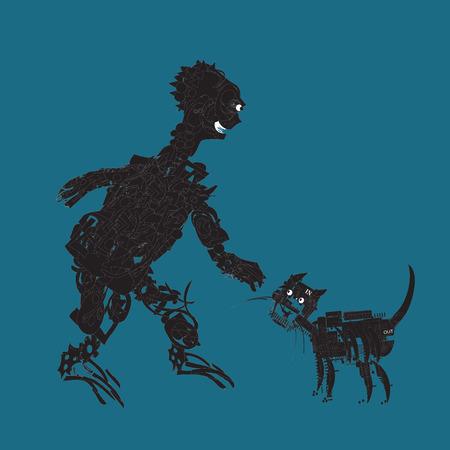 Bizarre alien stroking electronic cat, futuristic concept, illustration on blue Illustration
