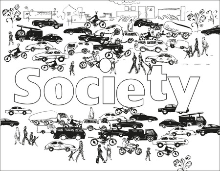 masses: Sketch of people , cars, buildings, around word Society, black and white illustration. Concept of modern society Illustration