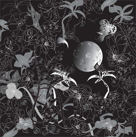 African night pattern, moon in the center, plants and hidden animals around, drawn on black Vector