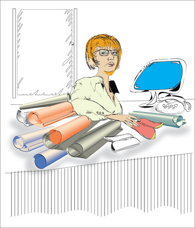 Sketch of a business woman working at the messy table Vector