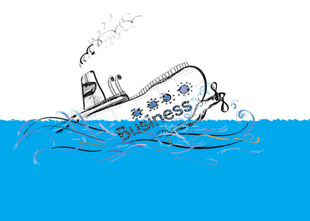 collapsed: Ship named Business is sinking down, illustration of collapsed business project