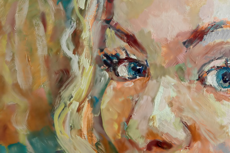 looking straight: Eyes of a young girl, closeup shot of painted image