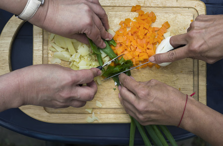 overhead shot: Female hands chopping onion on a kitchen tray, overhead shot