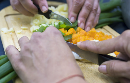blurred motion: Two women chopping vegetables on a kitchen tray, blurred motion shot with shallow depth of field