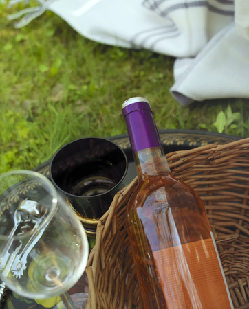 pink wine: Overhead vertical shot with selective focus of a pink wine bottle Stock Photo