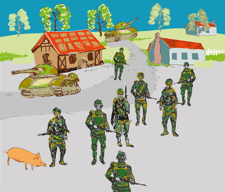 marauder: Soldiers in a small town, concept of wars and conflicts, hand drawn in childish style illustration Illustration