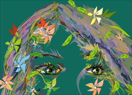cropped: Face of a young woman with flowers, illustration on green, concept of summer time Stock Photo