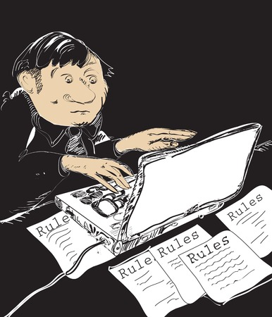Sketch of a bureaucrat, creating new rules and restrictions on a laptop, illustration on black