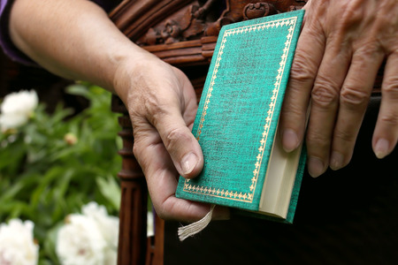 chair garden: Small book holding by female hands leaned on retro chair garden in the blurred background