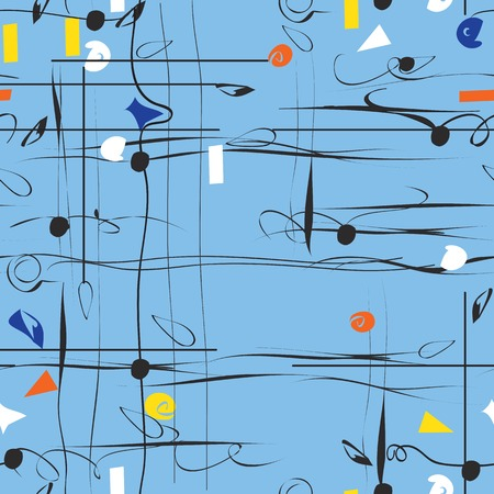 chaotic: Chaotic curved lines and strange dots croosing, seamless pattern on blue Illustration