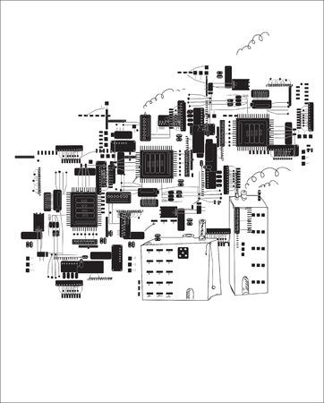 Dibujado a mano el futuro de la ciudad en forma de placas de circuitos y componentes electrónicos, el concepto de las tecnologías informáticas modernas Ilustración de vector