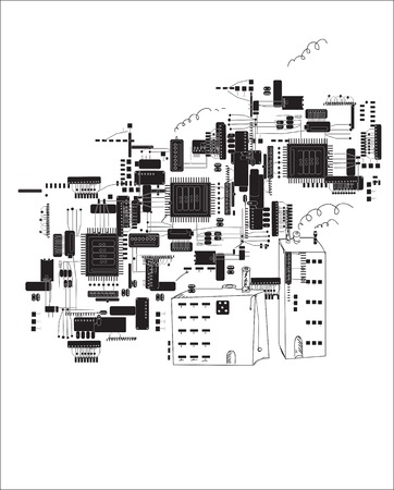 electronic components: Hand drawn future city in shapes of circuit boards and electronic components, concept of modern computer technologies
