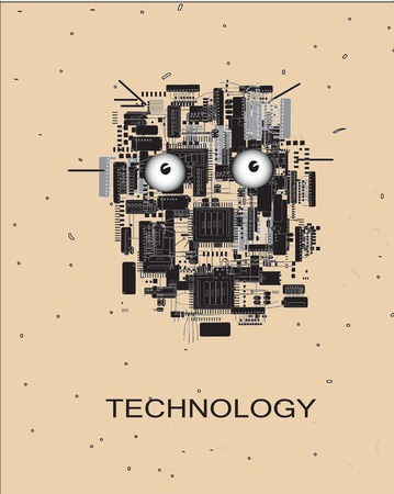 electronic components: Silhouette of artificial intelligence human loke head and text Technology below, concept of future technologies Illustration